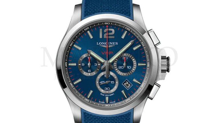 męski zegarek Longines niebieska tarcza